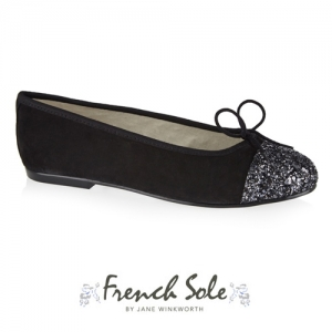 SIMPLE NUBUCK BLACK GLITTER TOECAP / SM576