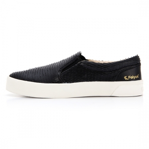 FE SLIP ON LEATHER DRAGON SCALE BLACK / F20060W