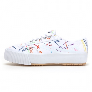 [UNISEX] PLAIN PLATFORM / WHITE MULTI SCRIBBLE / F20116W