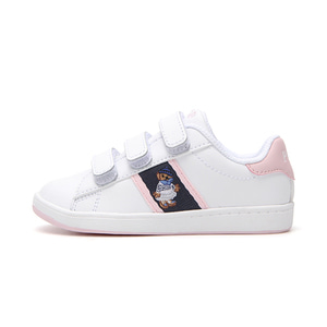 [TODDLER] QUILTON BEAR EZ / WHITE LEATHER/NAVY/LIGHT PINK STRIPING AND MARSEILLES BEAR/ RF101640T