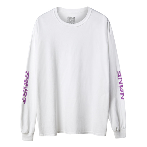 TRUST NONE L/S / WHITE PURPLE / LT200802