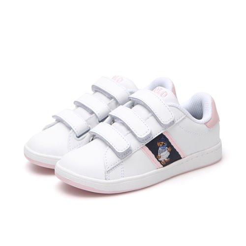 [CHILD] QUILTON BEAR EZ / WHITE LEATHER/NAVY/LIGHT PINK STRIPING AND MARSEILLES BEAR/ RF101640C